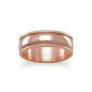6mm Solid Copper with Milgrain Design Ring Size 8